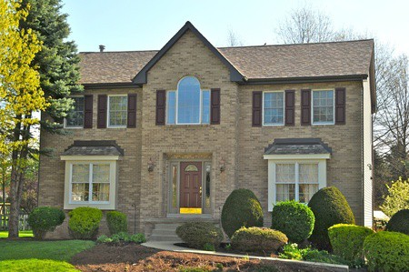 Brick House with Shutters | RoofingContractorPittsburgh.com