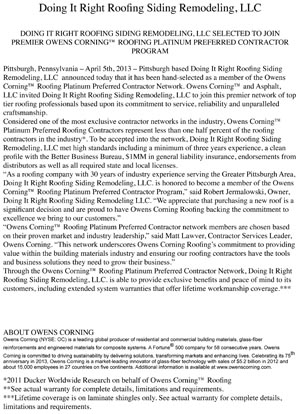 Press Release Platinum 2013 | RoofingContractorPittsburgh.com